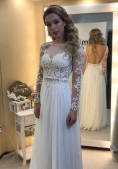 Long Sleeves A-line Chic Bride Dress 2018 Floor Length Simple Backless Lace Wedding Dress