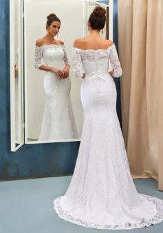Half Sleeves Bride Dress Lace Simple Sweep Train Off-the-shoulder Lace-up Sheath Column Wedding Dress