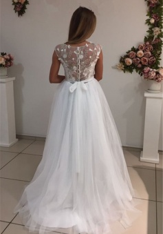 A-Line Elegant Bride Dress 2018 Cap Sleeves Appliques White Tulle Wedding Dresses