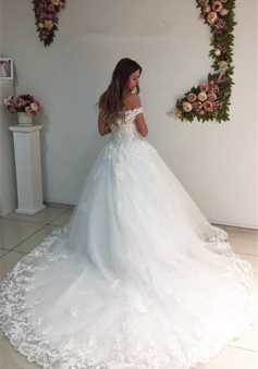 White Strapless Appliques Off The Shoulder Bride Dress 2018 Lace A-Line Wedding Dresses