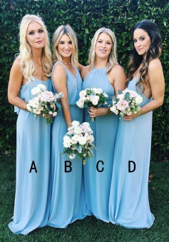 A-Line Halter Sweep Train Sleeveless Blue Chiffon Bridesmaid Dress