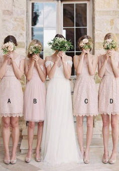 A-Line V-Neck Above-Knee Cap Sleeves Pearl Pink Lace Bridesmaid Dress