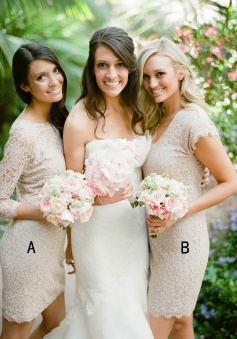 Sheath Bateau Above-Knee 3/4 Sleeves Grey Lace Bridesmaid Dress