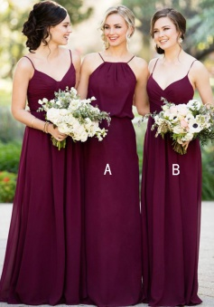 A-Line Spaghetti Straps floor-Length Sleeveless Burgundy Chiffon Bridesmaid Dress
