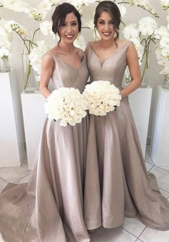A-Line V-Neck Sweep Train Sleeveless Grey Taffeta Bridesmaid Dress