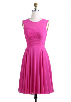A-Line Crew Knee-Length Sleeveless Keyhole Back Fuchsia Chiffon Bridesmaid Dress