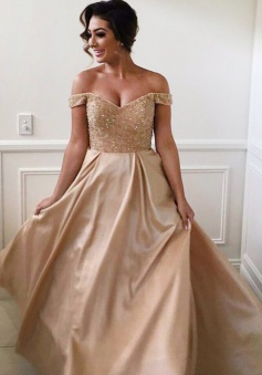 A-Line Off-the-Shoulder Sweep Train Champagne Stretch Satin Bridesmaid Dress with Beading
