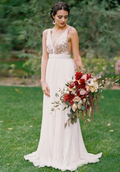 A-Line V-Neck Backless White Chiffon Bridesmaid Dress with Sequins
