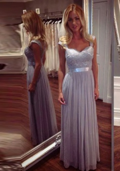 A-Line Square Cap Sleeves Grey Chiffon Bridesmaid Dress with Lace Sequins