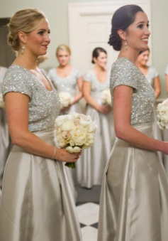 A-Line Scoop Short Sleeves Grey Satin Bridesmaid Dress with Sequins