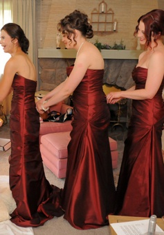 Sheath Sweetheart Sweep Train Burgundy Satin Bridesmaid Dress Ruched