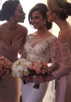 Mermaid Off-the-Shoulder Long Sleeves Blush Bridesmaid Dress with Beading