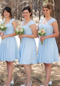 A-Line Square Neck Short Light Blue Chiffon Bridesmaid Dress Ruched