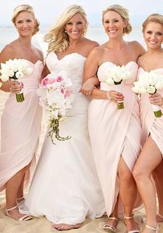Sheath Sweetheart Floor-Length Pearl Pink Chiffon Bridesmaid Dress with Split