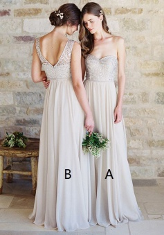 A-Line Sweetheart Light Grey Chiffon Bridesmaid Dress with Lace