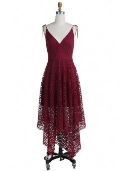 A-Line Spaghetti Straps Asymmetrical Burgundy Lace Bridesmaid Dress