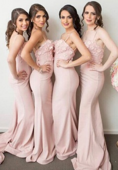 Mermaid Spaghetti Straps Pink Stretch Satin Bridesmaid Dress with Appliques