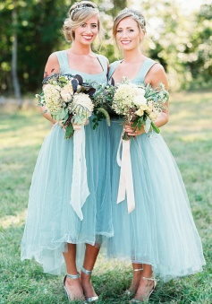 High Low Square Light Sky Blue Tulle Bridesmaid Dress with Beading