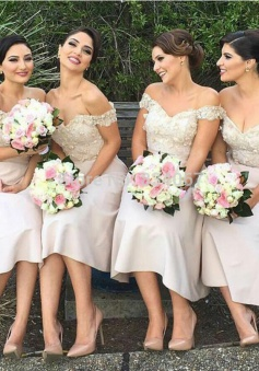 A-Line Off-the-Shoulder Light Pink Bridesmaid Dress with Appliques