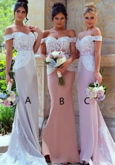 Mermaid Off-the-Shoulder Sweep Train Bridesmaid Dress with Sash Lace