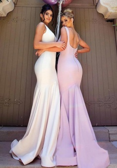 Mermaid Square U Back Sweep Train White/Lavender Bridesmaid Dress