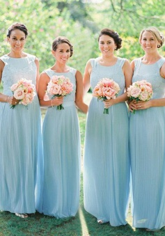 A-Line Bateau Light Sky Blue Chiffon Bridesmaid Dress with Lace
