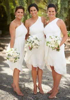 High Low One Shoulder Ruched White Chiffon Bridesmaid Dress