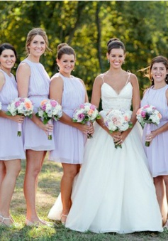 A-Line Round Neck Short Lavender Chiffon Bridesmaid Dress Open Back