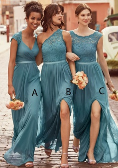 A-Line Scoop Floor-Length Dark Green Chiffon Bridesmaid Dress with Lace