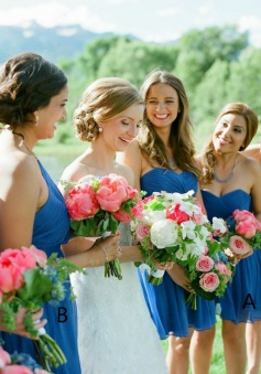 A-Line Sweetheart Short Ruched Sky Blue Chiffon Bridesmaid Dress