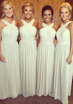 A-Line Cross Neck Floor-Length Pleated Ivory Chiffon Bridesmaid Dress