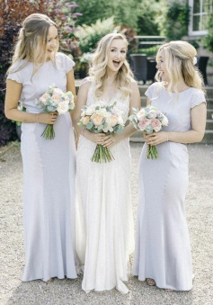 Sheath Bateau Cap Sleeves Light Gray Bridesmaid Dress with Lace