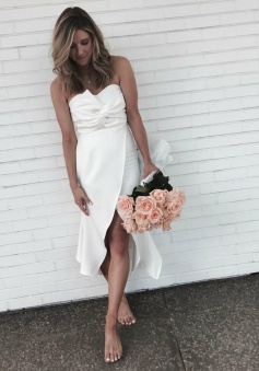 Sheath Sweetheart Asymmetrical Ruched Ivory Satin Bridesmaid Dress