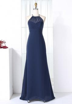 Sheath Round Neck Open Back Navy Blue Chiffon Beaded Bridesmaid Dress