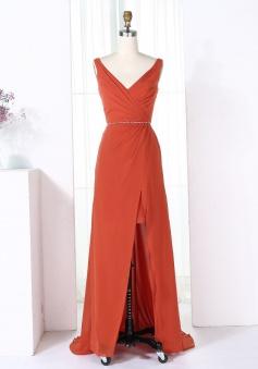 Sheath V-Neck Sweep Train Red Chiffon Bridesmaid Dress with Split
