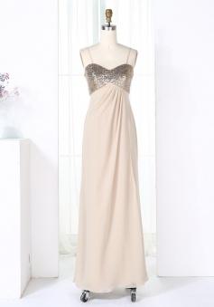Sheath Spaghetti Straps Pearl Pink Empire Chiffon Bridesmaid Dress with Sequins