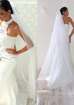 Halter Mermaid Lace Chic Sexy Sleeveless Court-train Wedding Dress