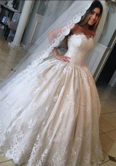 Ball Gown Gorgeous Sweetheart Lace Bride Dress Princess 2018 Wedding Dresses