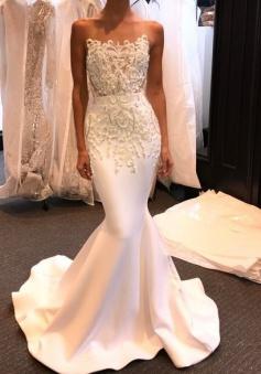 Shiny Long Mermaid Evening Gown 2018 Beading White Prom Dresses BA5245