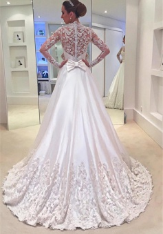Appliques Sweep Train Long Sleeves Bride Dress Bowknot A-Line 2018 Wedding Dress