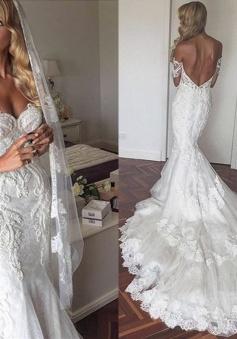 Off The Shoulder Elegant Mermaid Wedding Dress Tulle Backless Appliques 2018 Bride Dress