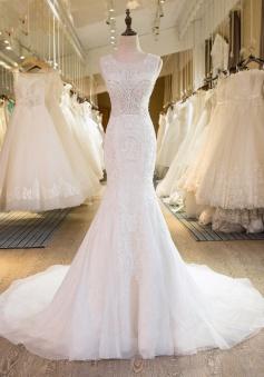 Appliques Newest Beadings Sleeveless Tulle Mermaid Wedding Dress