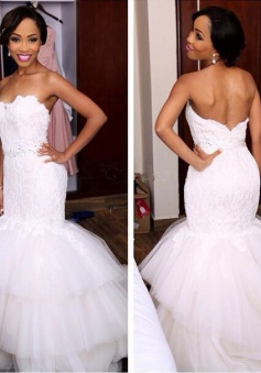 Newest Sweetheart Tiered Mermaid Tulle Appliques Crystal Wedding Dress