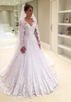 V-Neck Appliques Long-Sleeves Elegant Tulle A-Line Beadings Wedding Dress