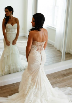 Sweetheart Appliques Buttons Elegant Tiered Tulle Mermaid Wedding Dress