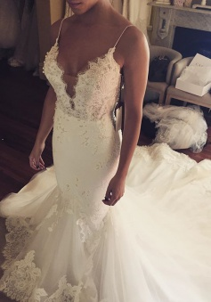 Appliques Spaghetti-Straps Sexy Tulle Mermaid Wedding Dress
