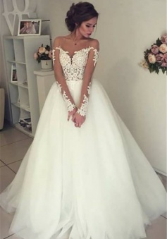 Sheer Long Sleeve Lace Wedding Dresses 2018 Open Back Tulle Ball Gown Bridal Dress