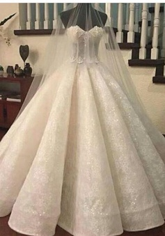 Ruffles Lace Gorgeous Ball-Gown Sweetheart-Neck Wedding Dresses