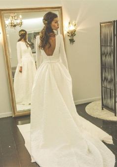 A-line Jewel Newest Long Sleeve Sweep-Train Wedding Dress 2018