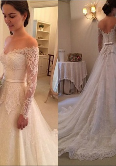 Long Sleeves Off-The-Shoulder New Arrival Bridal Gowns Lace 2018 Wedding Dress
